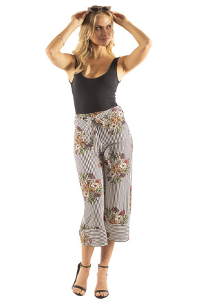High Waisted Tie Culotte Pants
