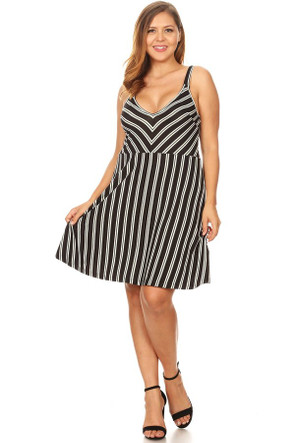 Plus Striped Skater Dress