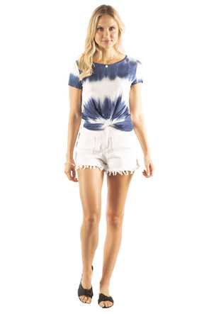 Tie Dye Twist Front Detail Top