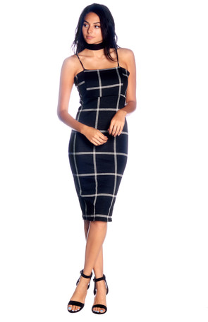 Plaid Bodycon Midi Dress
