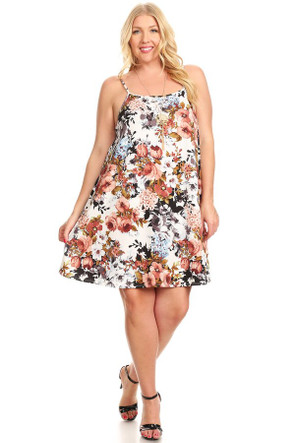 Plus Floral VIBE 'HIGH' Swing Dress w/Necklace
