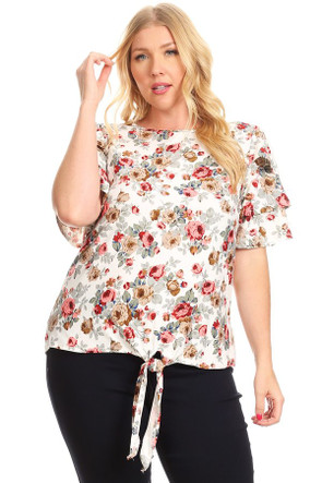 Plus Soft Knit Tiered Ruffle Sleeve Tie Top