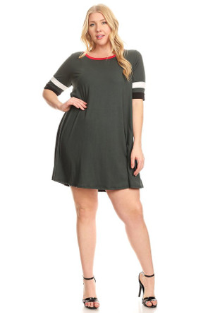 Plus Varsity Stripe Ringer Dress