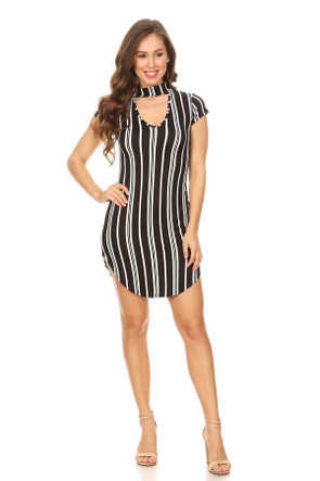 Striped Choker Cut Out Mini Dress