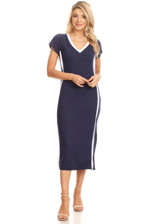 V Neck Varsity Stripe Maxi Dress