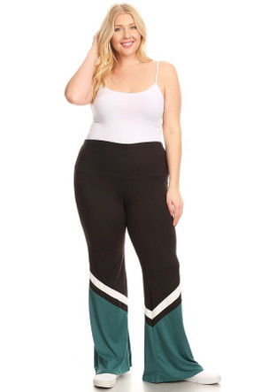 Plus Sports Stripe Flare Pants