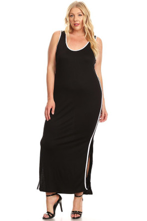 Plus Varsity Stripe Side Split Tank Maxi Dress