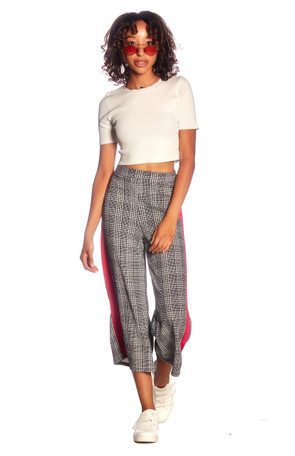 Side Stripe Contrast Culottes
