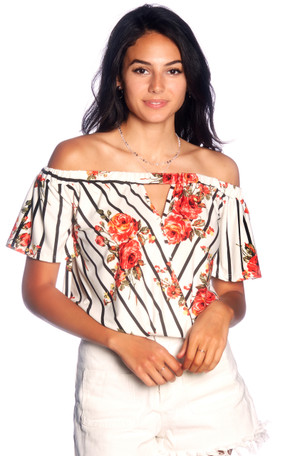 Off The Shoulder Keyhole Wrap Top