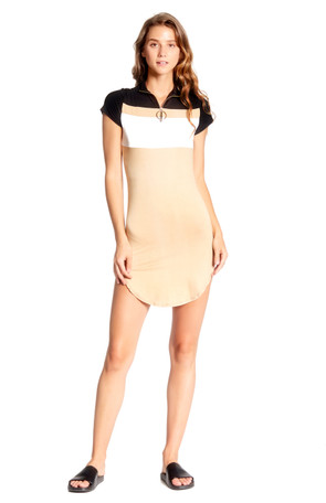 Colorblock Zip  Up Mini Dress