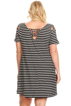 Plus Stripe Back & Shoulder Caging Swing Dress