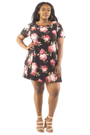 Plus Floral Shoulder Caging Swing Dress