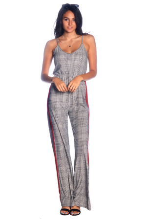 Contrast Stripe Plaid Jumpsuit