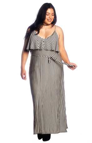 Plus Ruffle Front Maxi Dress