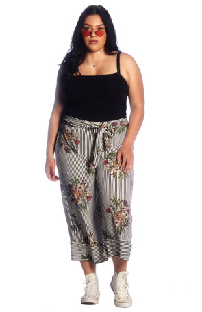 Plus High Waisted Tie Culotte Pants