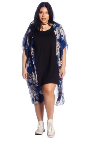 Plus Printed Open Front Kimono