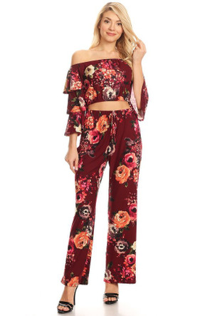 Boho Printed Ruffle Off The Shoulder Co Ord Set