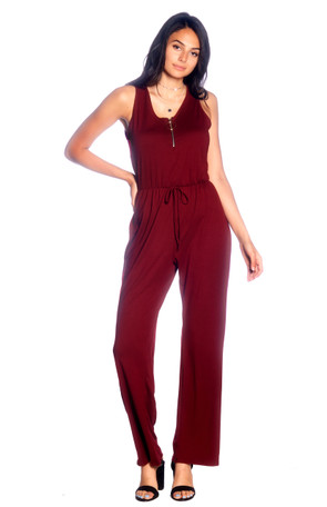 Zip Front Wide Leg Jumpsuit