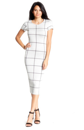 Cap Sleeve Plaid Midi Dress