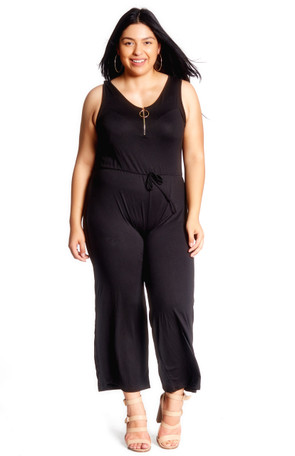 Plus Zip Front Wide Leg Jumpsuit