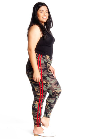 Plus Camouflage High Waisted Side Stripe Legging