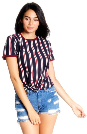 Knotted Striped Ringer Tee