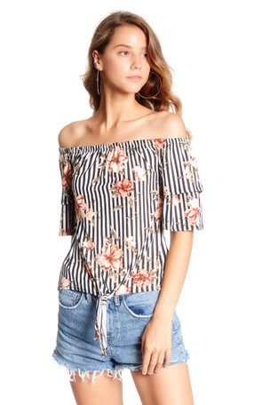 Off The Shoulder Knit Tie Front Top