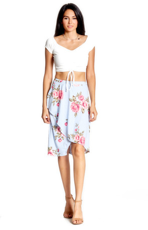 Floral & Striped Wrap Skirt