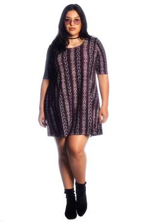 Plus Aztec Brushed Swing Dress