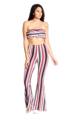 Striped Bandeau & Flare Co Ord Set