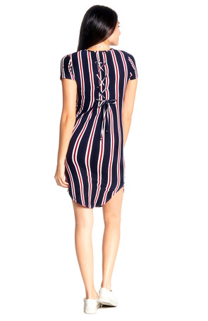 Stripe Gromet Back Tie Body Con Dress