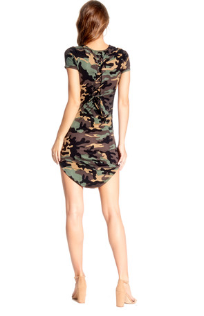 Camouflage Gromet Back Tie Body Con Dress