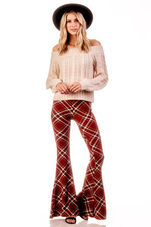 Plaid  Wide Leg Flare Pant