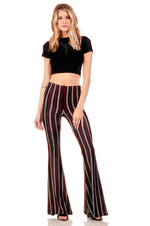 Stripe Wide Leg Flare Pant
