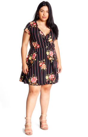 Plus Stripe Floral Cap Sleeve Wrap Dress