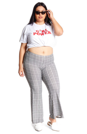 Plus Plaid  Bell Bottom Pant