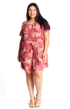 Plus Printed Keyhole Hardware Swing Dress