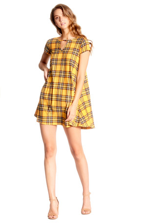Plaid Keyhole Swing Dress
