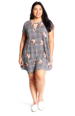 Plus Keyhole Trapeze Plaid Floral Dress