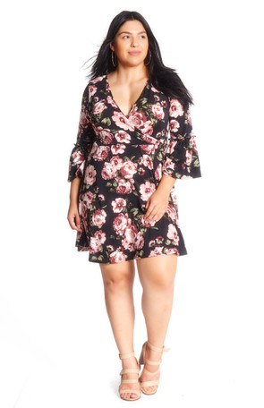 Plus Tiered Sleeve Wrap Dress