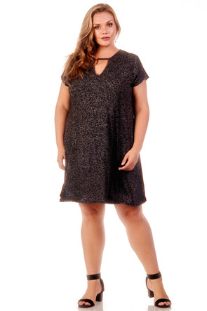 Plus Keyhole Knit Trapeze Dress