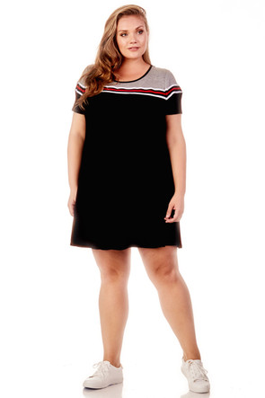 Plus Sport Stripe Swing Dress