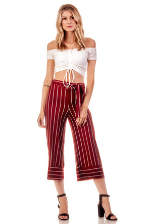 Knit High Waisted Tie Culotte Pants