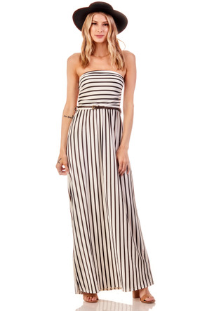 Striped Ruched Belted Maxi Dress
