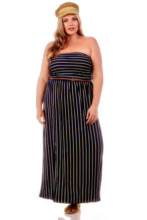 Plus Striped Ruched Belted Maxi Dress