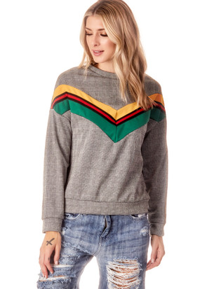 Plaid Colorblock Sweatshirt