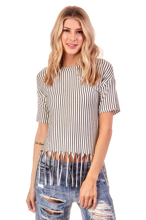 Striped Fringe Tee