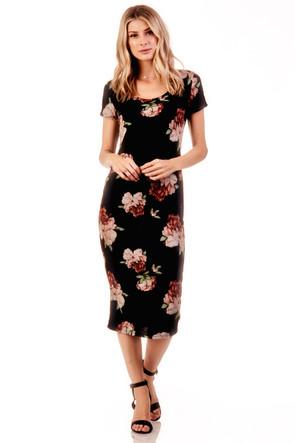 Heather Knit Floral Midi Dress