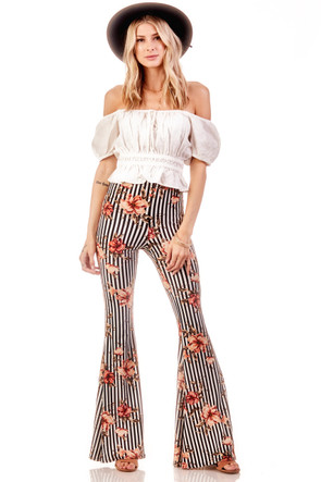 Stripe Floral Wide Leg Flare Pant