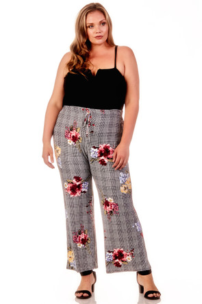 Plus Plaid Floral  Palazzo Pants